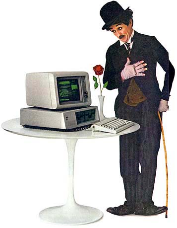 anuncio de prensa de Chaplin con un IBM 5150